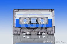 Analog tape audio cassette on cyan  background