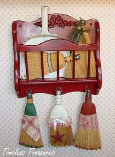 Timeless Treasures : re-purposed ...Thrifted Magazine Rack for Dust Pan and Whisk Brooms
