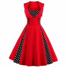 This red dress will remind you of the 50's with its O neckline, flared calf length skirt and polka dot insets along skirt and neckline. The cotton and Spandex material will allow for a flattering fit made easier with the side zipper. The dress is sleeveless and has cute details such as 6 large black buttons on the bodice, for show.