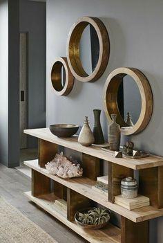 Round Wooden Frame Mirror. #homedesignideas #homedecorideas #interiordesignideas #decorationideas #walldecorideas #updatedhome