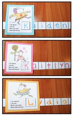 "Back to school activities: Chrysanthemum Name ""Slider"" Craft. Includes 6 black and white patterns, as well as color. What a fun way to practice recognizing, writing and spelling your name. :-) Love Kevin Henkes' story ""Chrysanthemum"".  Also includes matching name cards."