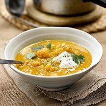 Soupe de pois-chiches au chou-fleur et au cumin