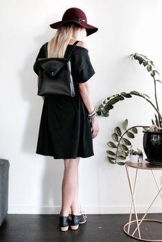 Leather backpack rucksack black small handmade by EcoCollectiveAus
