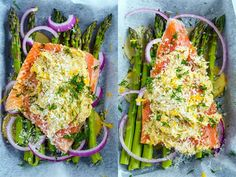 Lemon Miso Butter Parchment Salmon with Asparagus Recipe : Quick and easy salmon and asparagus in a tasty lemon, miso butter sauce that is wrapped in foil and baked until tender, moist and melt in your mouth good! Best Asparagus Recipe, Lemon Asparagus, Salmon And Asparagus, Fish Recipes, Seafood Recipes, New Recipes, Healthy Recipes, Miso Butter, Butter Sauce