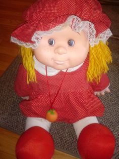 Vintage 1984 fruit kid doll. Doll is in great shape. Dress could use a few new pieces of velcro where it comes together but does still hold. Wear on the back side and rear as shown. Similar to 80s cabbage patch dolls but head is much karger. And this edition the head is significantly larger than the other fruit kid dolls on here. But dress and doll awesome shape. This fruit kid is a little rarer the head is much larger than any other vintage 80s fruit kid doll Ive come across. Stamped 1984 on th Cabbage Patch Kids Dolls, Child Doll, Vintage Children, Doll Toys, Kids Toys, Badge, Nostalgia, Patches, Crochet Hats