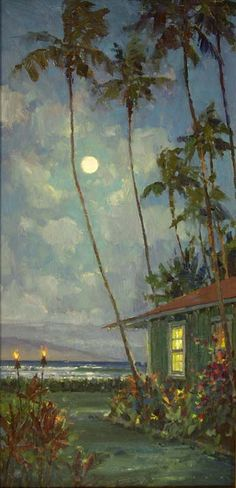 """Maui Evening Bliss"" original in oil art by Ronaldo Macedo. Maui cottage.  size: 30x15 visit: www.lahainagalleries.com"