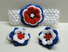 Crocheted flowers hairband an ponytails 4th of July by artefyk