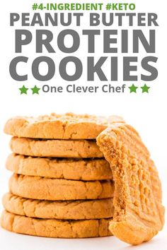 Healthy Peanut Butter Protein Cookies (Gluten-Free, Keto) - One Clever Chef - These healthy almond flour & peanut butter protein cookies are my new addiction. Made with only 4 s - Peanut Butter Protein Cookies, Healthy Peanut Butter, Keto Cookies, Gluten Free Cookies, Healthy Cookies, Protein Cookie Recipe, Cookie Butter, Healthy Protein Snacks, High Protein