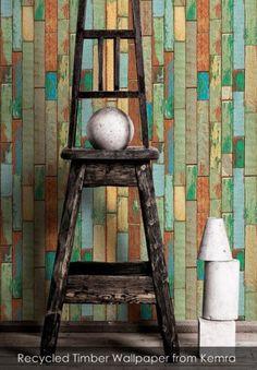 Recycled Timber Wallpaper from Kemra - Patternsnap Blog, 'Scrap that!'.