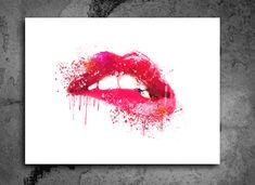 Pink Lips Watercolor Print.Lipstick Chic Wall Art Kiss Print Fashion Illustration.Fashion Poster Abstract Lips Art. Make Up Wall Decor