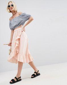4fe6878448b4 ASOS Wrap Midi Skirt in Cotton with Ruffle Hem Vestidos Navideños