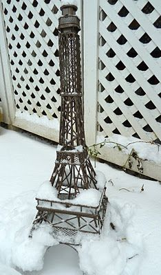 Eiffel Tower, in the snow
