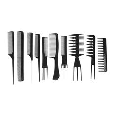 10Pcs Black Professional Salon Combs Hairdressing Barbers Brush Comb Hair Styling Hair Care Tool Plastic