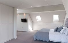 Attic conversion with wardrobes and under eaves drawers.