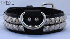 Black Leather Dog Collar with Pyramid Studs by guillensleather, $20.00