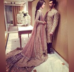 Pakistani couture Faraz manan model Shahzad Noor and Nadia Ali Pakistani Couture, Pakistani Bridal Wear, Pakistani Wedding Dresses, Pakistani Outfits, Indian Dresses, Indian Outfits, Desi Bride, Desi Wedding, Wedding Wear