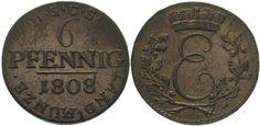 Sachsen-Coburg-Saalfeld Ernst 1806-1826. 6 Pfennig 1808 Vorzüglich
