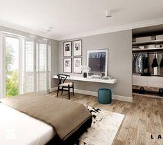 nasycone bielą - Duża sypialnia małżeńska z garderobą, styl skandynawski - zdjęcie od LAVA Projektowanie Wnętrz