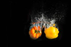 Bell Peppers Splash Photography by Hans H