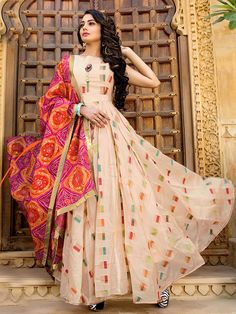 Excited to share this item from my shop: VeroniQ Trends - New designer Embroidered gown/Dress in Chanderi silk with Georgette Bandhani Dupatta-Indian,Ethinic,Jaipur. Indian Gowns Dresses, Pakistani Dresses, Pakistani Sharara, Punjabi Dress, Girls Dresses, Prom Dresses, Indian Attire, Indian Outfits, Indian Wear