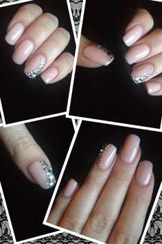 Nails inspired by pinterest - nude nails with svarovski / rhinestones - Nude/rosa mit Strasssteinen