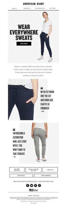 american_giant3 American Giant, Email Design Inspiration, Email Newsletters, Joggers, Classic, Fabric, How To Wear, Cotton, Collection