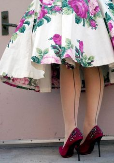 """Party time -- let's dress up with fancy stockings! Nylons with """"seams"""" in them, I remember these. Retro Fashion, Vintage Fashion, Womens Fashion, Girly, Estilo Boho, Nylon Stockings, Vintage Stockings, Mode Vintage, Vintage Style"""