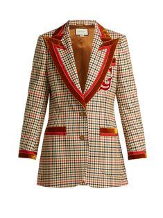 0b455d95a326 Velvet-trim houndstooth wool-blend blazer   Gucci   MATCHESFASHION.COM AU