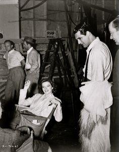 Katharine Hepburn and Cary Grant on set of Bringing Up Baby