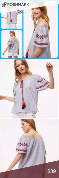 🆕️ LOFT Ann Taylor Boho Embroidered Aztec top new w/out tag  size medium  LOFT ann Taylor Off shoulder supa cute-sy   boho hippie chic Aztec insp Embroidered Woven 100% cotton light weight .maybe a poplin?!? idk  smocked neckline. braided /twisted strings w/cute tassels . Aztec insp embroidery on sleeves. like I said supa cutesy . more pics (of actual item need to take em..)  offers welcome & appreciated pls use prompt/button designated for such.  tysm! LOFT Tops Blouses