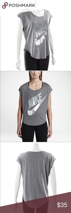 NIKE Woman's Metallic Signal Tee ike Women's Signal Metallic T-Shirt Details: Scoop neck - Loose fit - Nike logo screenprint on front - 50% cotton - 50% modal Nike Tops Tees - Short Sleeve