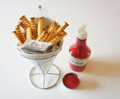 """Crinkle cut cake """"fries"""" with raspberry """"ketchup"""""""