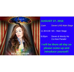 Austin Pride - AUGUST 27th! http://www.austinpride.org/ Deven performs her live music show at 11am!  Wendy Ho and Deven will be co-hosting the parade starting at 8pm!