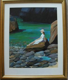 """Lovely signed, framed and glazed original oil painting by June Anderson from 2000.   Titled """"Solitude"""", subject is a lady enjoying the peace and solitude of a coastal bay.    Size is 40cm x 32cm."""