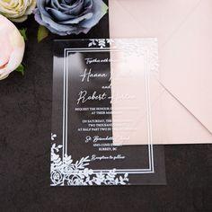 Subtle Bloom UV Print Acrylic Card ~ On Sale $4.37 Unique Wedding Stationery, Wedding Invitation Trends, Invitation Design, Acrylic Wedding Invitations, Types Of Printing, Bloom, Wedding Inspiration, Invites, Cards