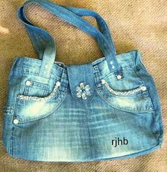 Handbag made from old jeans