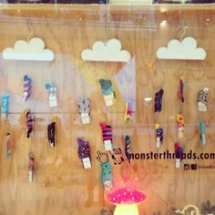 Raining happy socks, window display at Monster Threads galeries.