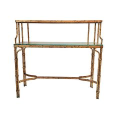 Pre-Owned Gilded Bamboo-Style 2-Tier Console Desk ($2,745) ❤ liked on Polyvore featuring home, furniture, desks, antiqued gold, secondhand furniture, bamboo shelving, bamboo shelf, two tier shelf and bamboo shelves