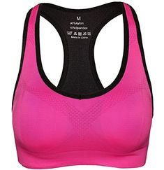Women's Padded Sports Bra Racerback Workout Yoga Bras Rose L >>> More details can be found by clicking on the image.