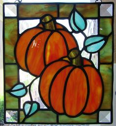 Two Pumpkins Stained Glass Panel - Fall Decor - Halloween Decoration - Halloween Pumpkins