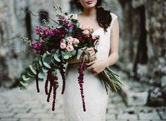 marsala bouquet with eucalyptus, roses and amaranthus
