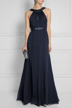 Matthew Williamson Crystal-embellished silk-chiffon gown | NET-A-PORTER
