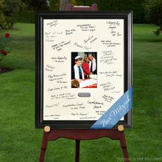 This 19 x 23 inch personalized graduation photo signature frame is a unique… Graduation Open Houses, College Graduation Parties, Graduation 2016, Graduation Celebration, Graduation Photos, Grad Parties, Graduation Gifts, Graduation Picture Boards, Guy Graduation Party Ideas