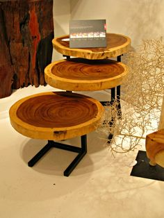 Stacked wood slice tables @ Live Edge Furniture