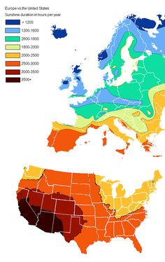 This map measures sunshine duration in hours per year, and it shows that the entire U.S. sees more sunshine than most of Europe.