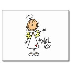 Stick Figure Angel T-shirts and Gifts Post Cards:
