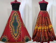 Red Rising Dawn - Long African Red Dashiki Maxi Skirt, Aline Tiered Bohemian Skirt, OOAK Handmade African Summer Skirt, Suited for L to 1X