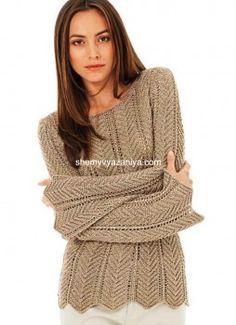 Пуловер с зигзагообразным ажурным узором