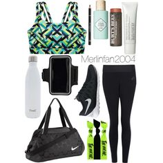 Workout Outfit by merlinfan2004 on Polyvore featuring polyvore, fashion, style, Victoria's Secret, NIKE, Boohoo, Laura Mercier, Givenchy, Benefit, S'well and Emi Jay
