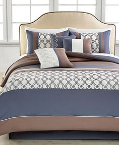 Helix 7 Piece King Embroidered Comforter Set - Bed in a Bag - Bed & Bath - Macy's